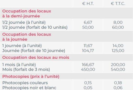 tarifs coworking à Niort Tech
